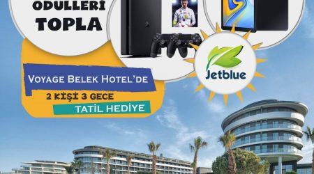 Çekilişle 1 kişiye Voyage Hotel Belek'te 3 gece / 2 kişilik tatil ; 1 kişiye 4 oyun hediyeli Play Station 4 oyun konsolu ve 1 kişiye Samsung Galaxy Tab A Tablet hediye ediyoruz.